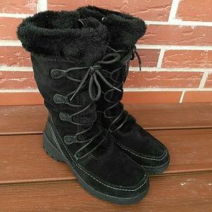 St. John's Bay Black Suede Fur Baylee Boots